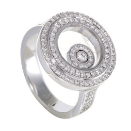 Chopard Happy Diamonds Womens 18K White Gold Full Diamond Pave Ring Size 6