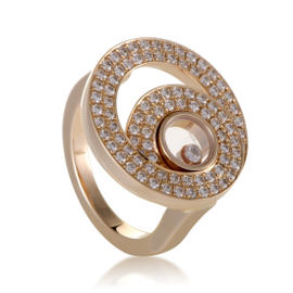 Chopard Happy Diamonds 18K Rose Gold with 0.77ct Diamond Ring Size 6