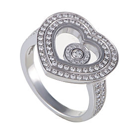 Chopard Happy Diamonds Womens 18K White Gold Diamond Pave Heart Ring