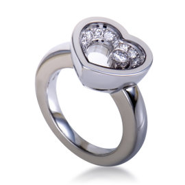 Chopard Happy Diamonds Womens 18K White Gold Diamond Pave Floating Solitiare Ring Size 4.75