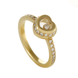 Chopard Miss Happy Womens 18K Yellow Gold Diamond Pave Heart Ring Size 4.75