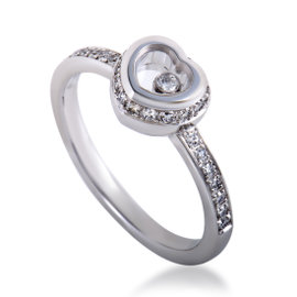Chopard Miss Happy Womens 18K White Gold Diamond Pave Heart Ring Size 6
