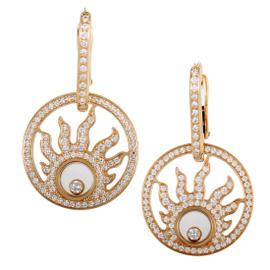 Chopard Happy Diamonds 18K Rose Gold & Diamond Pave Sun Earrings