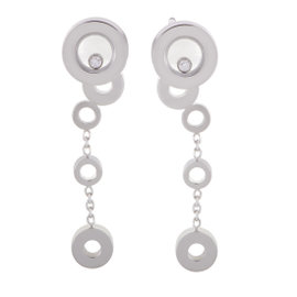 Chopard Happy Diamonds Womens 18K White Gold Bubble Drop Earrings