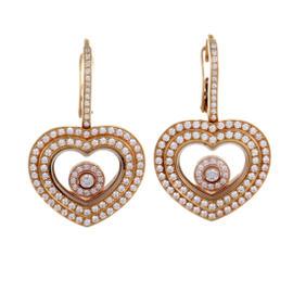 Chopard 18K Rose Gold Happy Diamonds Diamond Pave Heart Dangle Earrings