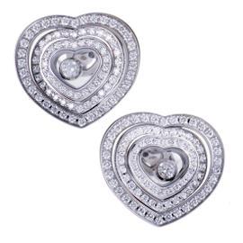 Chopard Happy Diamonds 18K White Gold & Diamond Heart Stud Earrings