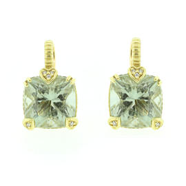 Judith Ripka 18k Yellow Gold Prasiolite Earrings