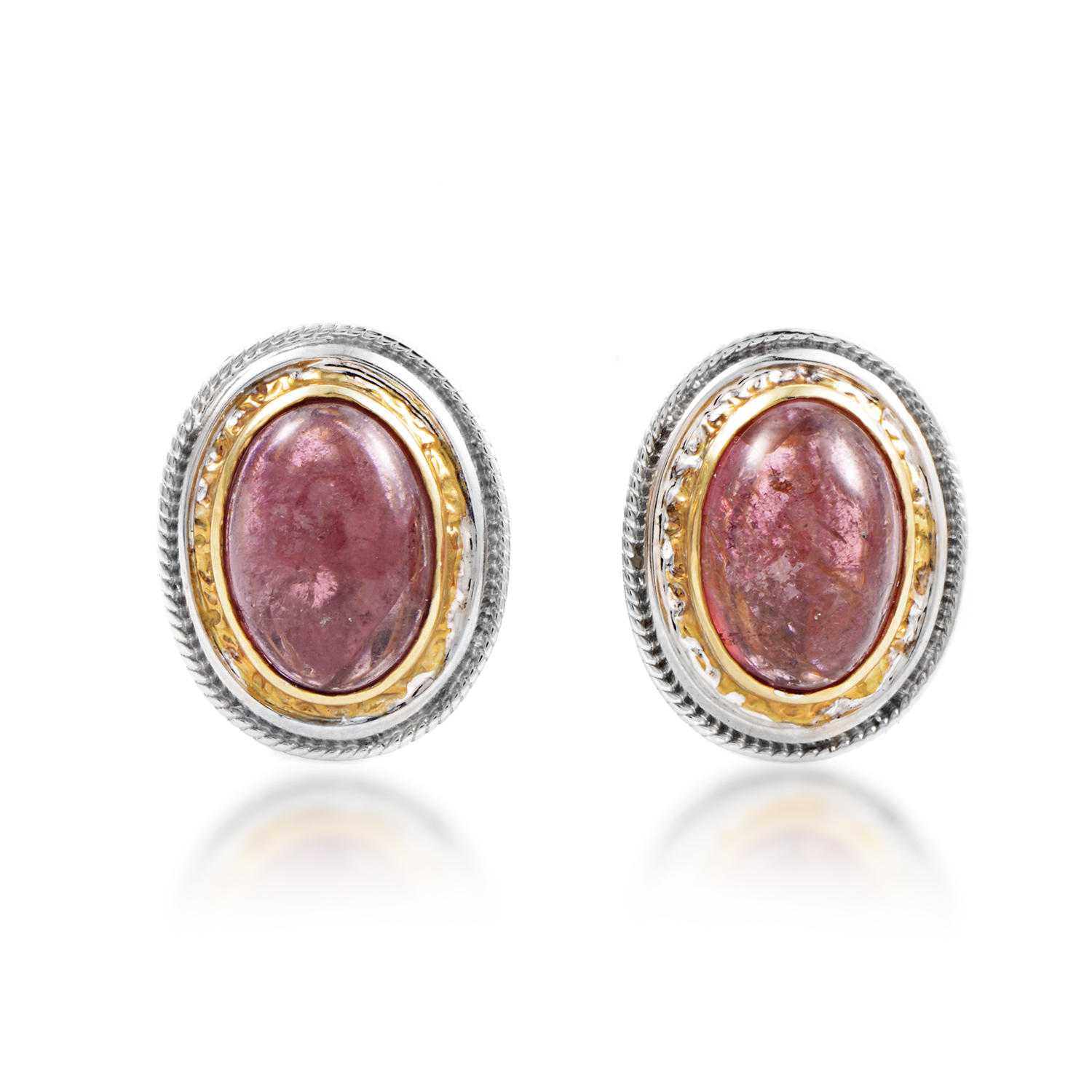 "Image of ""Citra 18K Multi-Tone Gold Pink Tourmaline Huggie Earrings"""