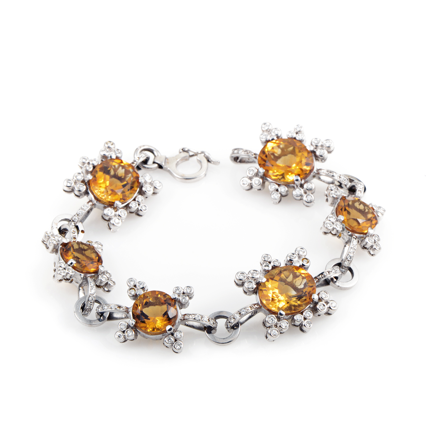 "Image of ""Citra 18K White Gold Diamond & Citrine Bracelet"""