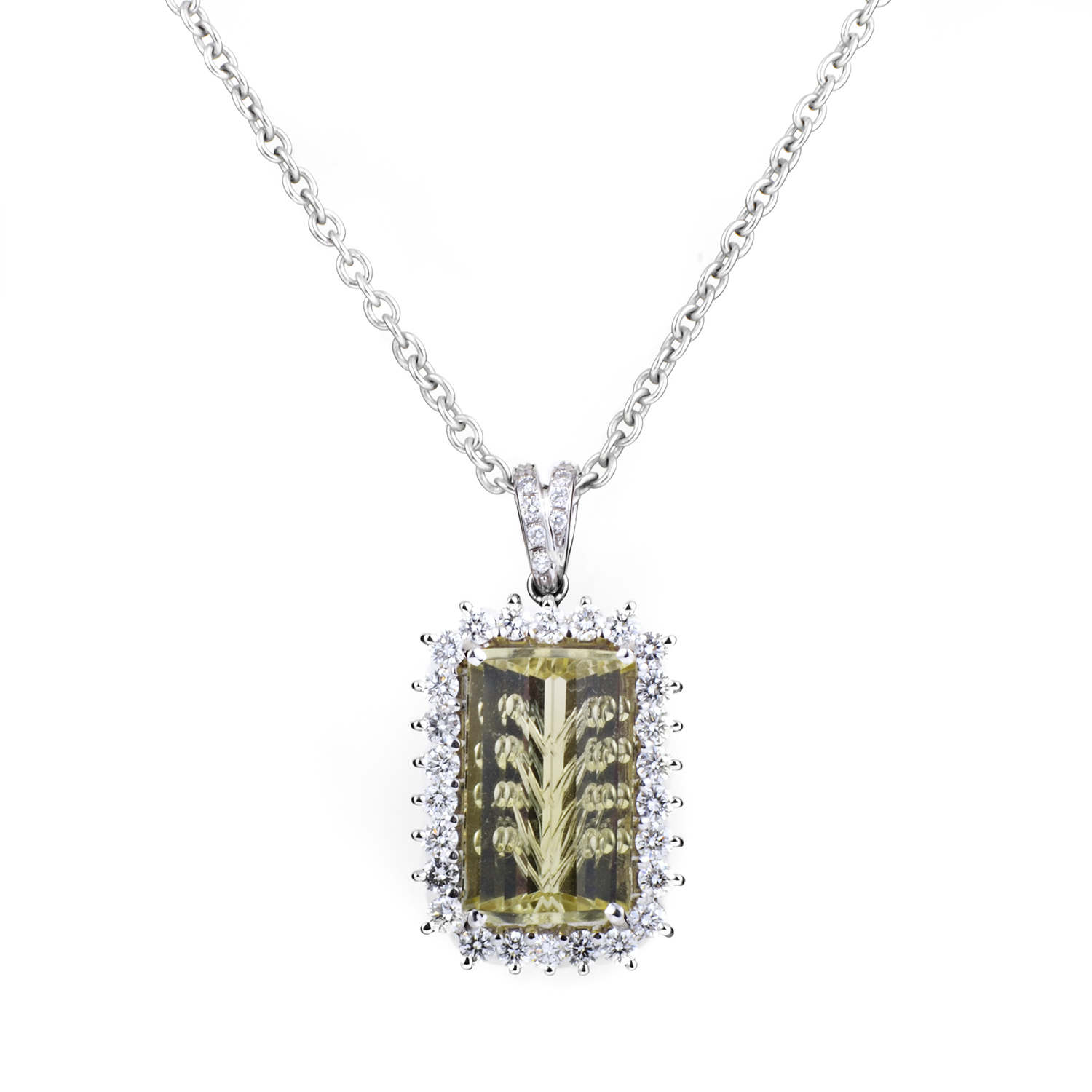 "Image of ""Citra 18K White Gold Diamond & Lemon Quartz Pendant Necklace"""