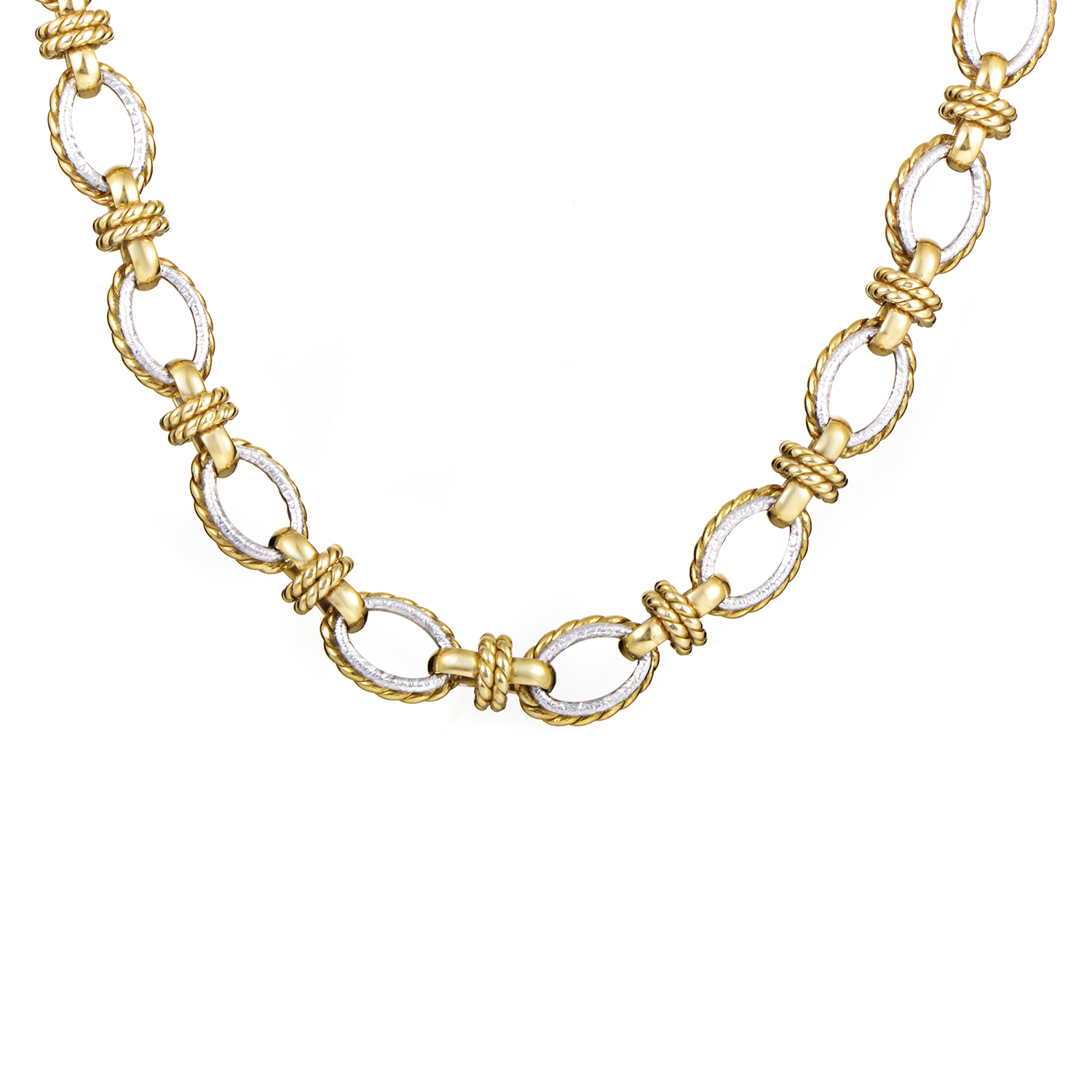"Image of ""18K White & Yellow Gold Link Choker Necklace"""