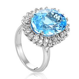 Citra 18K White Gold Diamond & Topaz Ring Size 8.5