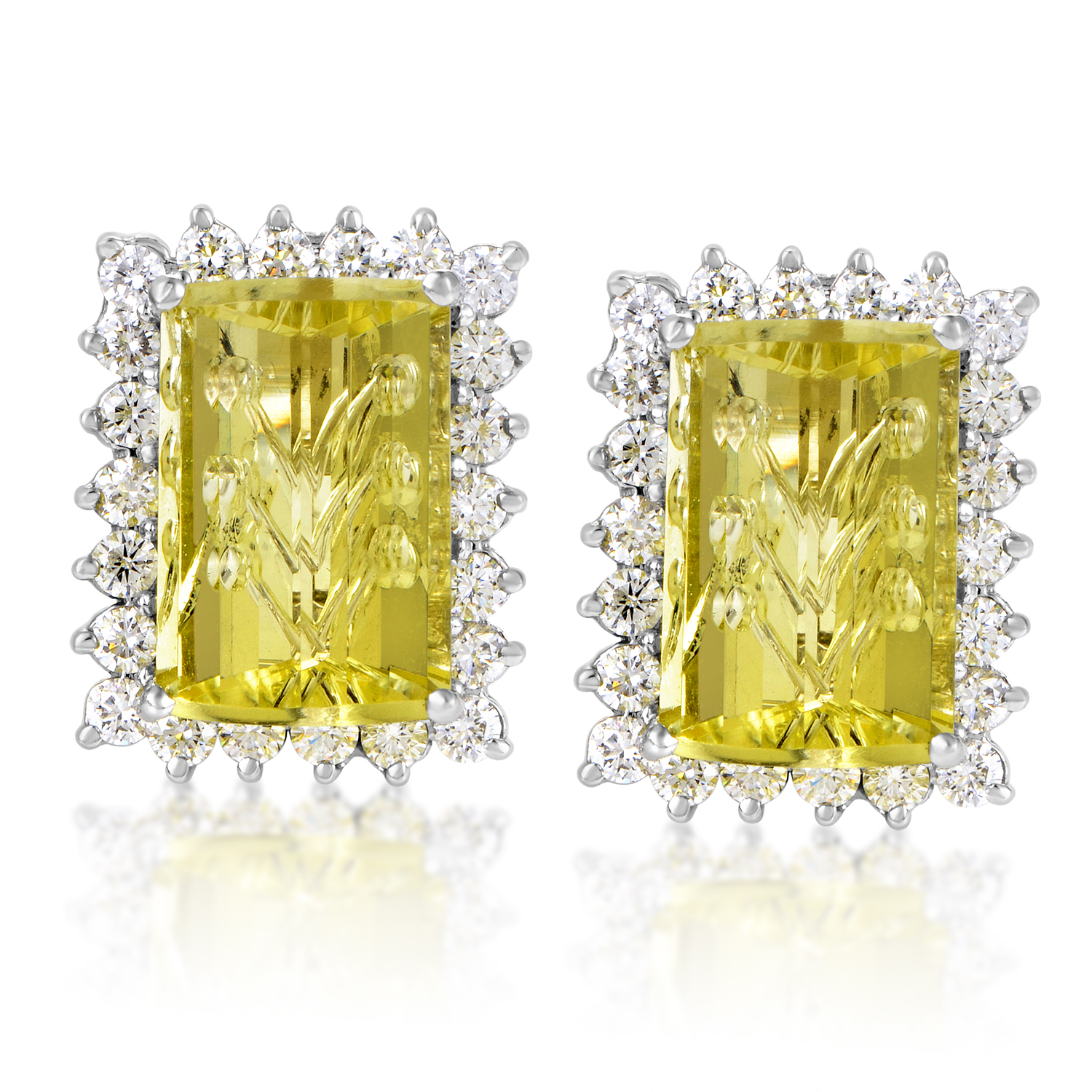 "Image of ""Citra 18K White Gold Diamond & Lemon Quartz Earrings"""