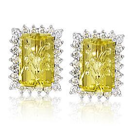Citra 18K White Gold Diamond & Lemon Quartz Earrings