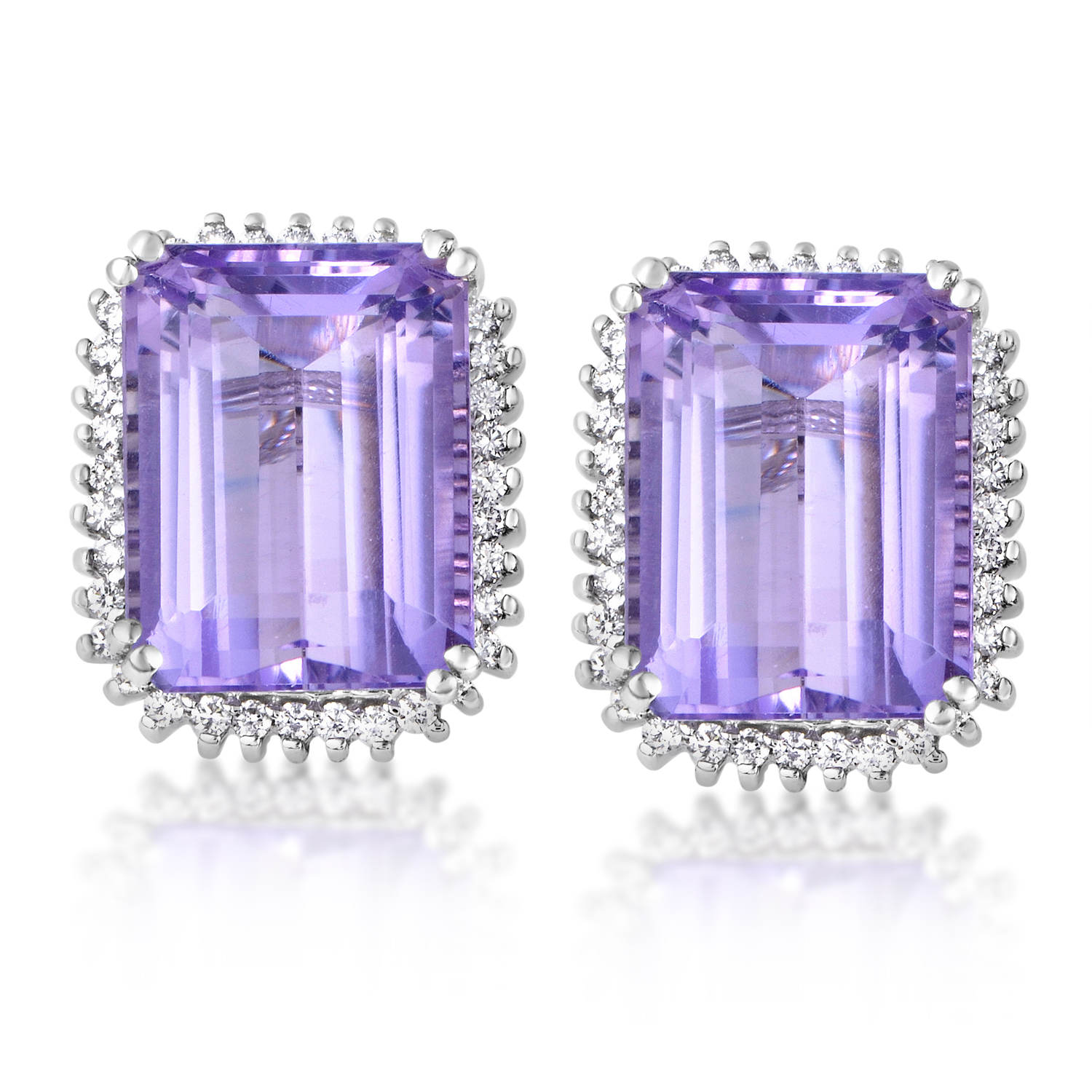 "Image of ""Citra 14K White Gold Diamond & Amethyst Stud Earring"""