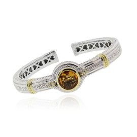 Judith Ripka Sterling Silver & 18K Yellow Gold Citrine Diamond Bangle