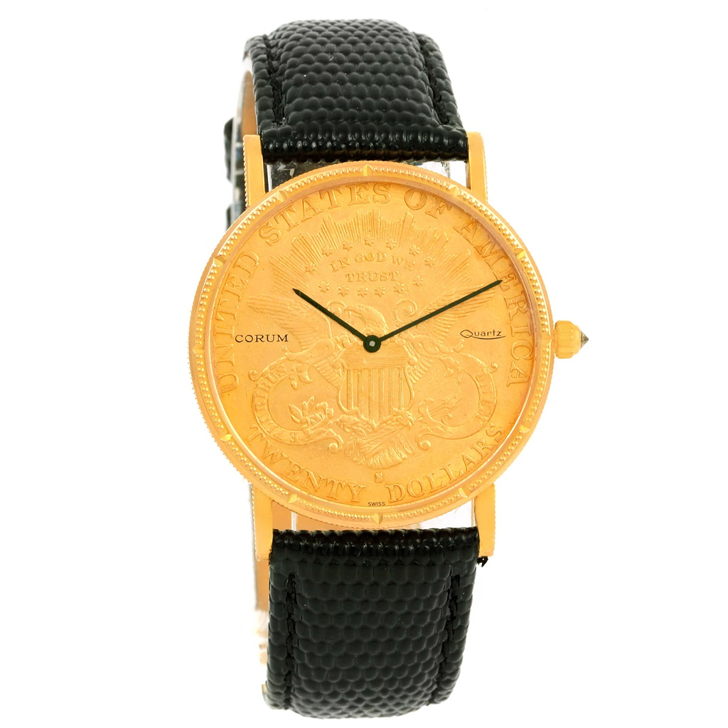 """Image of """"Corum 20 Dollars Coin Double Eagle 18K Yellow Gold & Leather 36mm Mens"""""""