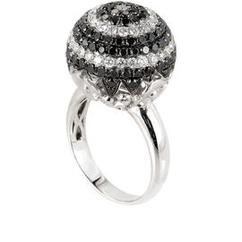 18K White Gold and Diamond Sphere Ring Size 7