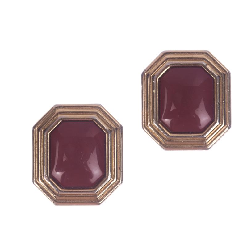 "Image of ""Christian Dior Faux Red Jasper Rectangular Earrings"""