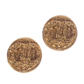 Chanel CC Etruscan Style Button Earrings