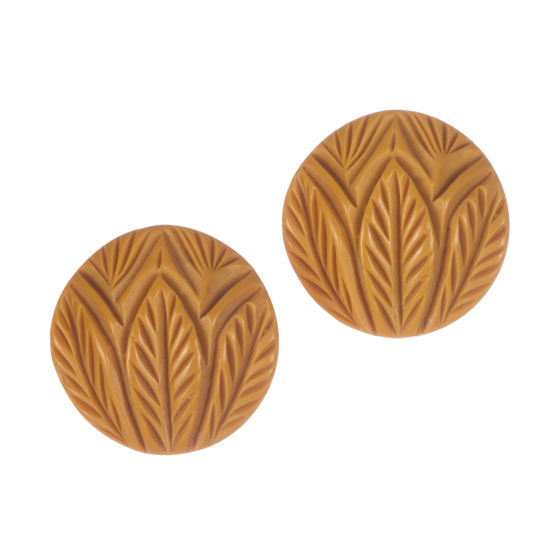 "Image of ""Large Carved Butterscotch Bakelite Earrings"""