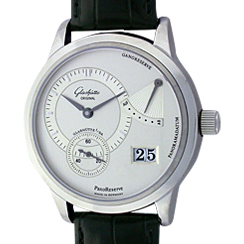 """Image of """"Glashütte PanoReserve Stainless Steel Mens Strap Watch"""""""