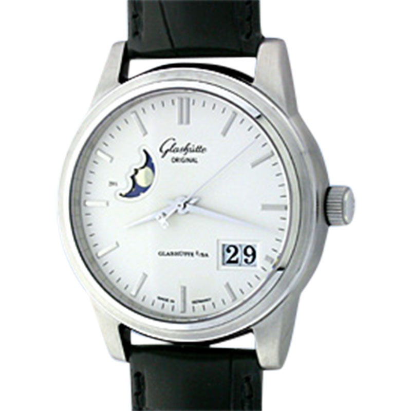 "Image of ""Glashütte Senator Date/Moonphase Stainless Steel Mens Strap Watch"""