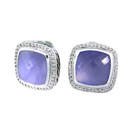 David Yurman Sterling Silver Chalcedony & Diamond Earrings