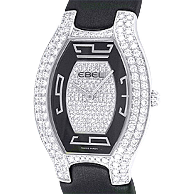 "Image of ""Ebel 18K White Gold Diamond Beluga Tonneau Strapwatch Womens Watch"""