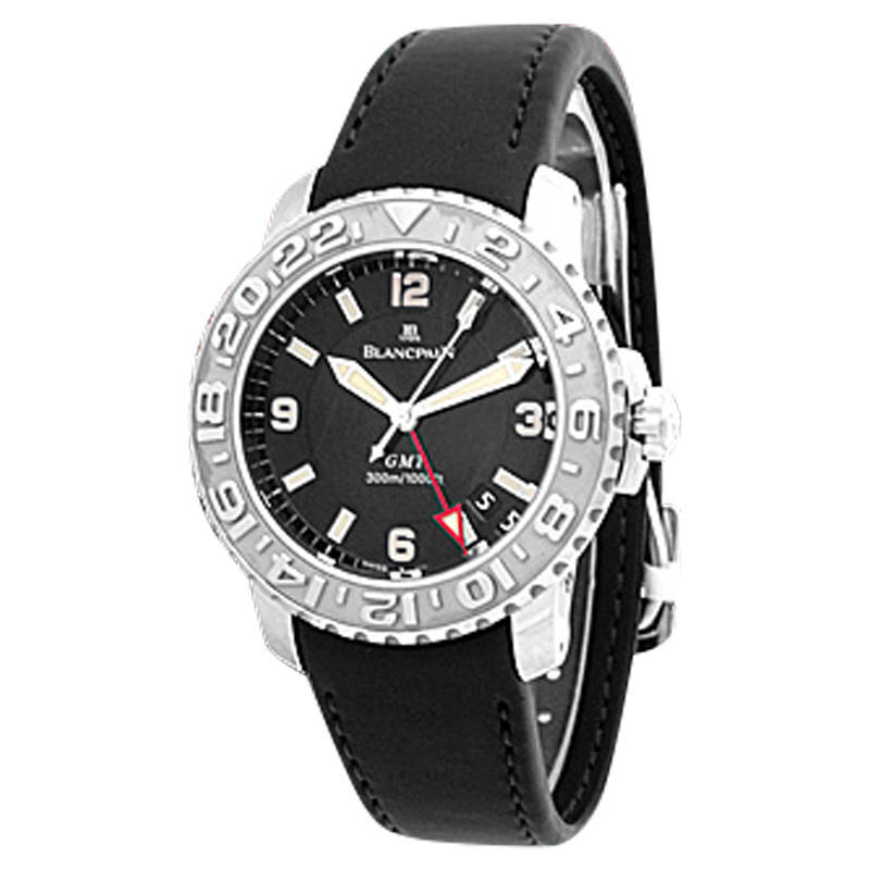 "Image of ""Blancpain GMT Diver Stainless Steel Mens Strap Watch"""