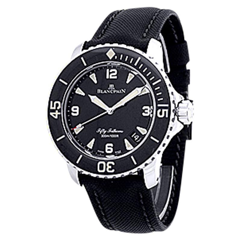 "Image of ""Blancpain Fifty Fathoms Diver Stainless Steel Mens Strap Watch"""