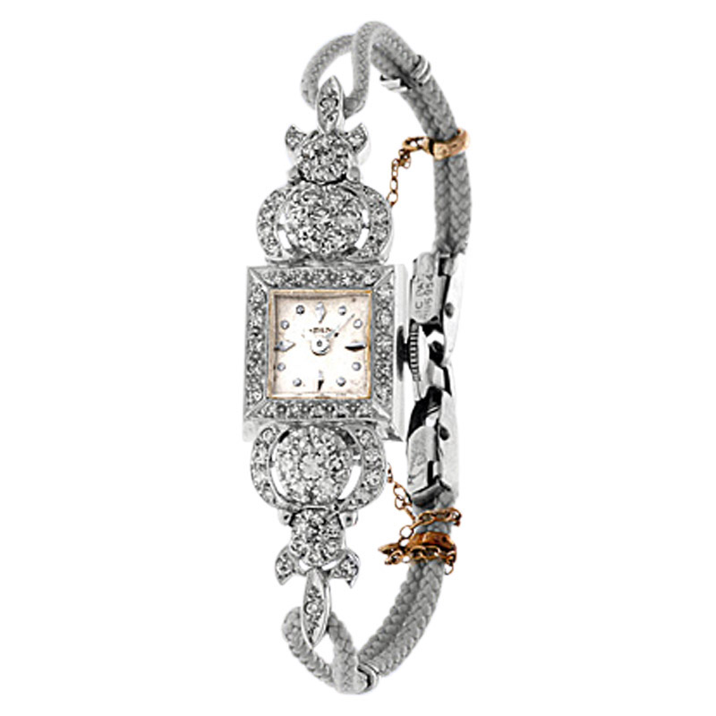 "Image of ""Hamilton 14K White Gold Pave Diamond Vintage Dress Watch"""