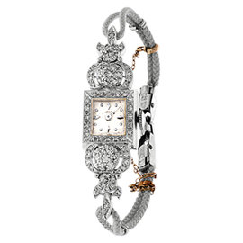 Hamilton 14K White Gold Pave Diamond Vintage Dress Watch