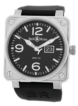 """Image of """"Bell & Ross BR 01-96 Stainless Steel Big Date Strap Watch"""""""