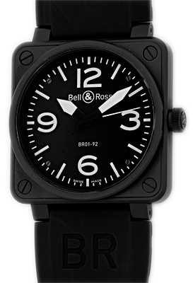 "Image of ""Bell & Ross BR 01-92 Black Carbon Finish Stainless Steel Mens Strap"""