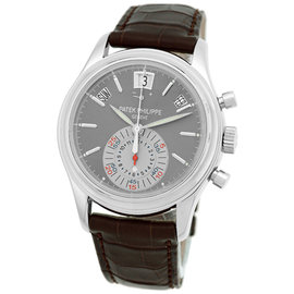 Patek Philippe 5960P-001 Platinum & Leather Gray Dial Automatic 40.5mm Mens Watch