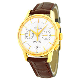 Longines Flagship L4.756.6.72.9 18K Yellow Gold Chronograph 38mm Watch