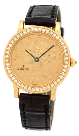 "Image of ""Corum 1894 Ten Dollar U.s. Coin 18K Yellow Gold Diamond Dress Unisex"""