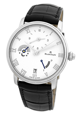 "Image of ""Blancpain Villeret Half Timezone Stainless Steel Mens Strap Watch"""