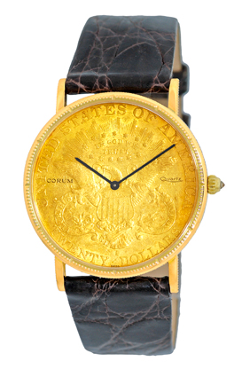 "Image of ""Corum 1877 Twenty Dollar U.s. Coin 18K Yellow Gold Mens Watch"""