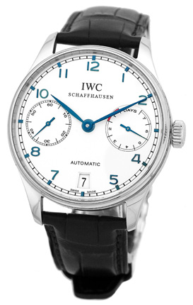 """Image of """"IWC Portuguese 7 Day Iw5001-07 Stainless Steel & Leather Automatic"""""""