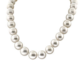 18K White Gold Pave Diamond Ball Clasp Pearl Necklace