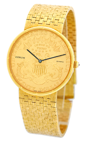 "Image of ""Corum 1877 18K Yellow Gold U.s. $20 Coin Quartz 35mm Mens Watch"""