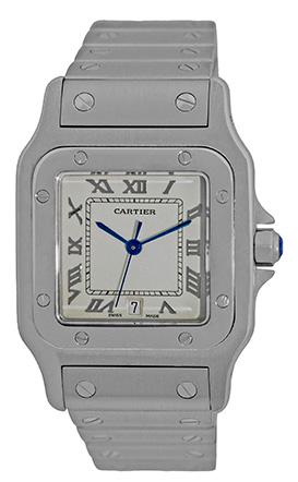 "Image of ""Cartier Santos de Cartier Stainless Steel Quartz 29mm Mens Watch"""