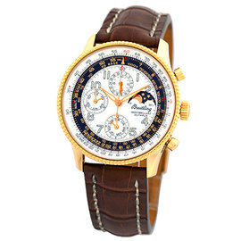 Breitling Navitimer Montbrillant Olympus H19350 18K Yellow Gold 42mm Mens Watch