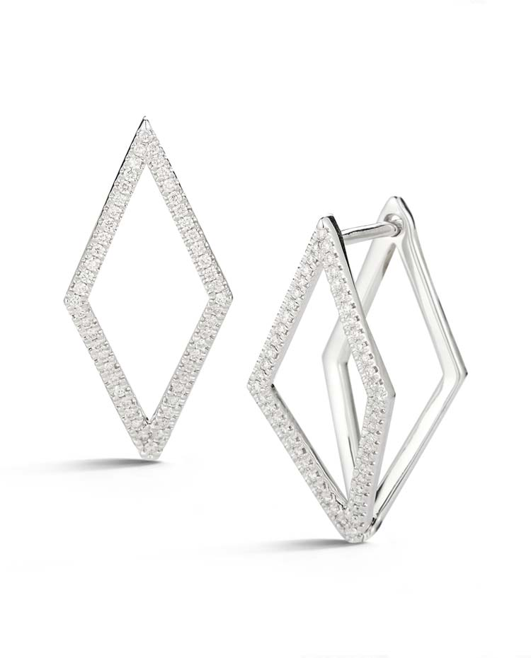 "Image of ""Cutout Elongated Diamond Earrings"""