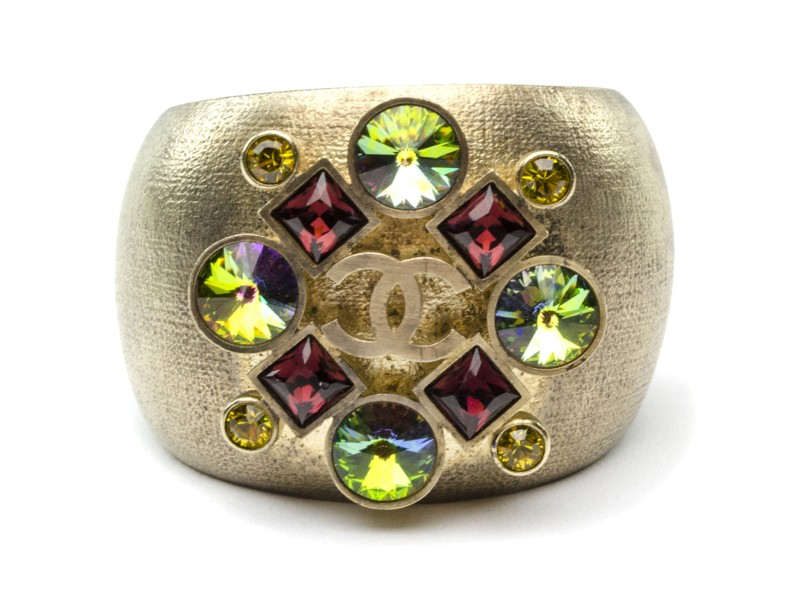 Chanel Brushed Gold Jeweled Cuff