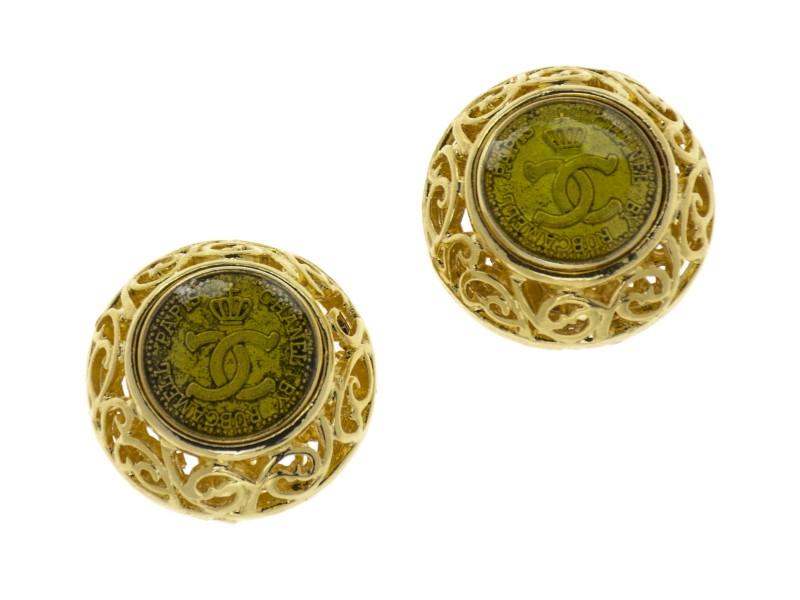 Chanel Gold Rubcamell Earrings