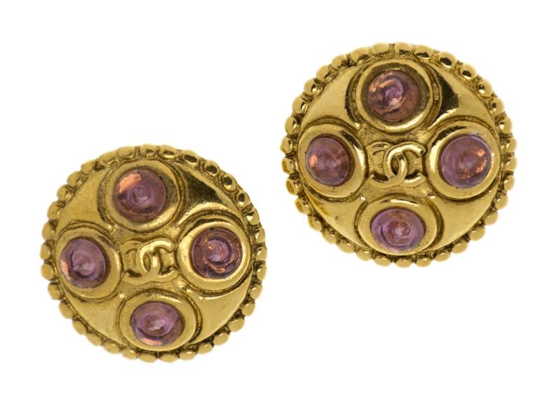 Chanel Gripoix Button Earrings