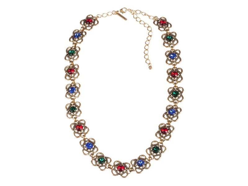 Oscar de la Renta  Gold Plated Necklace or Belt with Gripoix Rhinestones